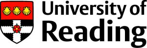 Black text that reads: University of Reading next to a shield illustration. The top half od the shield is red with 3 yellow shells in a line. The bottom half of the shield is a white cross on a black background with a red flower in the centre